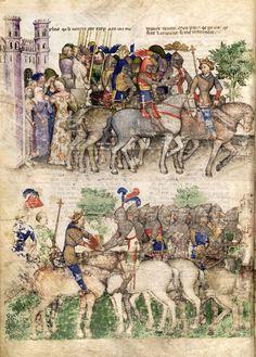 """""""Queste del Saint Graal"""", ca. 138/5, by Tristan de Léonois, BNF Français 343, f8v"""