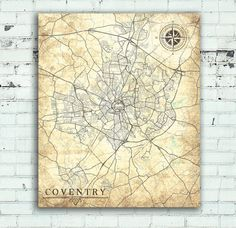 COVENTRY UK Vintage map Coventry City England Vintage map Coventry Great Britain map Print poster retro old Coventry United Kingdom Europe