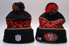Men s   Women s San Francisco 49ers New Era NFL Black Polar Prints Cuffed  Knit Pom Pom Beanie Hat 9dcd07546