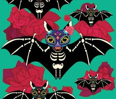 Skull Candy Bats fabric by luvisasong on Spoonflower - custom fabric