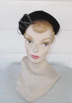 1950s Vintage Black Felt Cocktail Hat with by MyVintageHatShop
