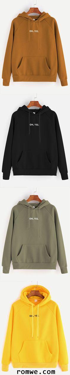 Letter Print Raglan Sleeve Drawstring Hooded Pocket Sweatshirt