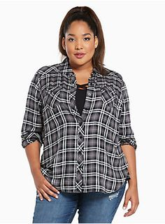 "<div>A camp shirt borrowed-from-the-boys (but wayyy better). Black, white and grey plaid keeps it casual, but the silky challis lends sophistication. Button tab sleeves, button down front, button tab breast pockets; try to get us to button up about this one.</div><div><br></div><div><b>Model is 5'10"", size 1</b></div><div><ul><li style=""LIST-STYLE-POSITION: outside !important; LIST-STYLE-TYPE: disc !important"">Size 1 measures 30 3/4"" from shoulder</li><li style=""LIST-STYLE-POSITI..."