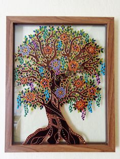 "Tree of life art 15""x12"" Glass painting Original painting Bohemian decor"