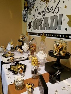 Graduation Candy Buffet by Gifted Occakesions n Baskets Graduation Desserts, Graduation Party Centerpieces, Graduation Party Planning, College Graduation Parties, Graduation Party Supplies, Graduation Decorations, Grad Parties, Graduation Ideas, Balloon Decorations