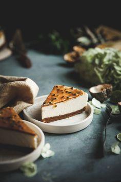 Passion Fruit Glazed New York-style Cheesecake - The Kitchen McCabe Amazing Food Photography, Cake Photography, Photography Lighting, Cheesecake Recipes, Dessert Recipes, Baking Recipes, Mini Cherry Cheesecakes, New York Style Cheesecake, Sweet Recipes