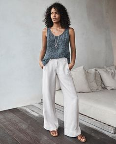 40d4178a955 Poetry - Wide leg trousers - Summers essential wide-leg linen trousers  simply styled with