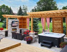 Hot Tub Pergola, Hot Tub Deck, Hot Tub Backyard, Hot Tub Patio On A Budget, Backyard Pools, Pool Decks, Small Patio, Jacuzzi 6 Places, Spa 6 Places