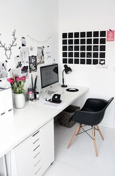 Black, white and pink office