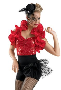competition,spring show, company, nba, college:Ruffle Shrug and Sequin Biketard; Weissman Costume