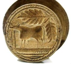 Antique COW BUTTER MOLD STAMP        Primitive Folk Art EXCEPTIONAL EXAMPLE ~ DEEPLY CARVED ~ VERY FINE DETAIL     Sold  Ebay   185.00
