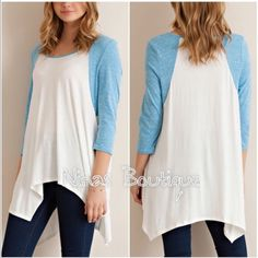 3/4 sleeve casual top Soft raglan tunic style top with handkerchief style hem. Price is firm unless bundled. Tops