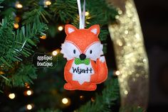 Machine Embroidery Design, In The Hoop, Fox Boy Christmas Ornament with Instructional PDF