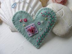 hand embroidered felt beaded heart