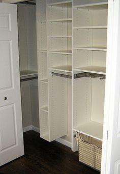 Classic closet, reach in closet, closet corner
