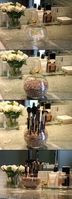 Clever Storage Ideas That Will Enlarge Your Space For when I have counter space in the bathroom? PQT: DIY Pretty Makeup Brush Holder - Pretty with PeggyFor when I have counter space in the bathroom? PQT: DIY Pretty Makeup Brush Holder - Pretty with Peggy Bathroom Organization, Makeup Organization, Bathroom Storage, Bathroom Ideas, Storage Organization, Vanity Bathroom, Organizing Ideas, Bathroom Cabinets, Storage Drawers