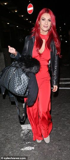 House of Ollichon loves...Strictly's Dianne Buswell matches her red locks with a racy keyhole jumpsuit for It Takes Two filming... after continuing to fuel romance rumours with Joe Sugg. #celebrity #fashion #jumpsuit
