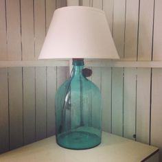 Turquoise Antique Bottle Lamp with shade and its original Cork - R4,250
