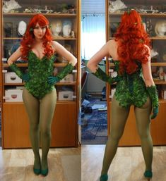Poison Ivy costume. Wow I love the corset back. Dc Cosplay, Poison Ivy, Rave, Poison Oak Plant, Rave Music