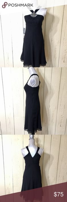 BNWT Ann Taylor black halter dress Black silk dress with gems at neck- sexy & elegant Ann Taylor Dresses Midi