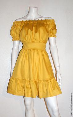 Купить Платье модель 50415-1 - желтый, однотонный, полатье-мини, платье летнее