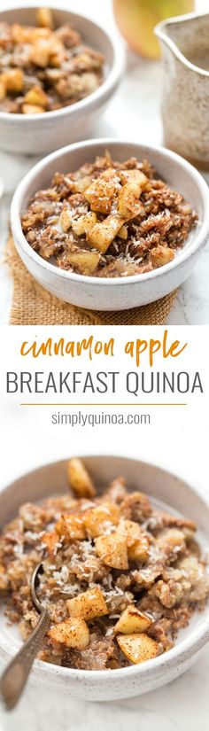 Cinnamon Apple Breakfast Quinoa -- a healthy & gluten-free breakfast option! This SEASONAL breakfast will keep you feeling full and satisfied all morning. An AMAZING & delicious quinoa breakfast recipe using cinnamon and apples! {vegan} Simply Quinoa #bre paleo breakfast overnight