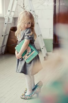 A sweetums with her nursery book & fav Mom shoes. So Cute Baby, Baby Kind, Baby Love, Cute Kids, Cute Babies, Pretty Baby, Little People, Little Ones, Little Girls