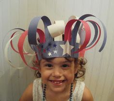 Fourth of July Preschool Hat Crafts Crazy Hat Day, Crazy Hats, Daycare Crafts, Toddler Crafts, Preschool Crafts, Summer Crafts For Toddlers, Kids Crafts, 4th July Crafts, Fourth Of July Crafts For Kids