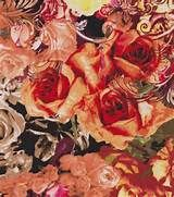 brown rose print fabric