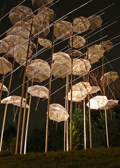 "the ""umbrellas"", a work of art by giorgos zoggolopoulos, on the promenade of thessaloniki, greece"