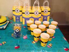 Minion goodie bags, minion cups and minion M&M jar