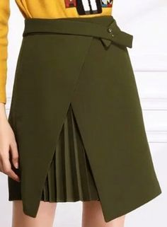 Women's Front Slit Solid Asymmetric High Waist Skirt - OASAP.com
