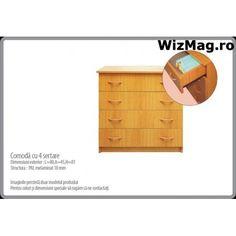 Comoda cu 4 sertare WIZ 0046 Dresser, Furniture, Home Decor, Powder Room, Decoration Home, Room Decor, Stained Dresser, Home Furnishings, Home Interior Design