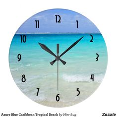 Azure Blue Caribbean Tropical Beach Large Clock