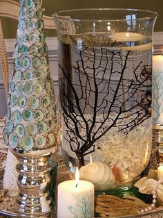 2014 Christmas floating candles in the jar with coral and shell decors - Christmas coastal theme, Christmas shell tree, Christmas candle