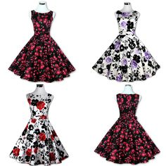 Womens Vintage Retro Rockabilly Floral Pinup 50s 60s Housewife Party Swing Dress | eBay