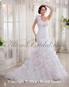 mermaid wedding dress train | ... Wedding Dresses > Organza One-Shoulder Court Train Mermaid Wedding