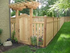 Out of all the cedar fence gate designs out there, this gorgeous, rustic wooden fence is the perfect touch as an entranceway to the garden! Fence gate ideas and design. Backyard Gates, Backyard Pergola, Backyard Landscaping, Privacy Fence Designs, Diy Fence, Fence Ideas, Pergola Ideas, Gate Ideas, Wooden Gates