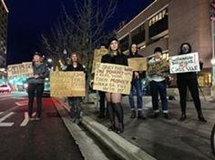 - Demonstrators gathered Dec. 8 in front of Boise City Hall to protest the city's actions at Cooper Court. -  - HARRISON BERRY