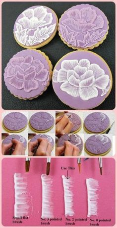 Brush Embroidery with Royal Icing - Awesome uses for Royal Icing Iced Cookies, Royal Icing Cookies, Cookies Et Biscuits, Cupcake Cookies, Sugar Cookies, Cake Decorating Techniques, Cake Decorating Tutorials, Cookie Decorating, Decorating Cakes