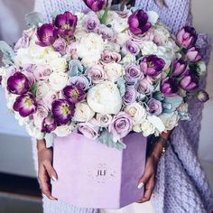 Bouquet Box, Single Red Rose, Pink Carnations, Primroses, Lilac Color, Purple, Flower Fashion, Love Flowers, Birthday Wishes