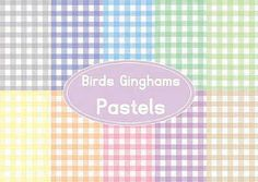 birds gingham pastels digital paper pack