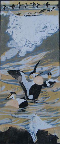 Robert Greenhalf (1950-): Eiders, woodcut