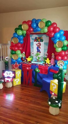 Super Mario Birthday, Mario Birthday Party, Super Mario Party, 6th Birthday Parties, Super Mario Bros, Kids Party Centerpieces, Birthday Party Decorations, Bolo Pikachu, Nintendo Party