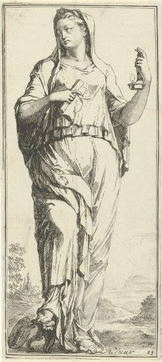 Arnold Houbraken   Personificatie van vuur, Arnold Houbraken, 1710 - 1719   Een vrouwfiguur als personificatie van vuur met in haar linkerhand een kaarsenhouder met een vlam en in haar rechterhand een opgerold vel papier. Aan haar voeten een medaillon met daarop een kolom met vuur. Prent uit een serie van 41 zinnebeelden.