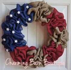 Ready to Ship American Flag Burlap Wreath  by CharmingBarnBoutique
