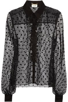 Black sheer polka-dot tulle Chiffon collar, cuffs and ruffles, buttoned cuffs Button fastenings through front 64% nylon, 34% rayon, 2% polyester Dry clean
