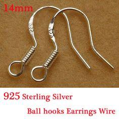 (Min Order 5$) Free Fast Shipping 10pcs Design 925 Silver Beads Jewelry Findings 925 Sterling Silver Hooks Earrings Wire