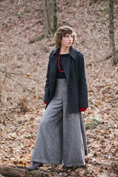 Neutral colors for outfit. Pop of color through a necklace and gloves. - What I Made // Tweed Palazzo Pants