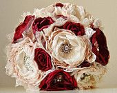 Fabric Flower Bouquet, Brooch Bouquet, Bridal Wedding Bouquet, Handmade Bridal Bouquet, Vintage Wedding, Red Roses